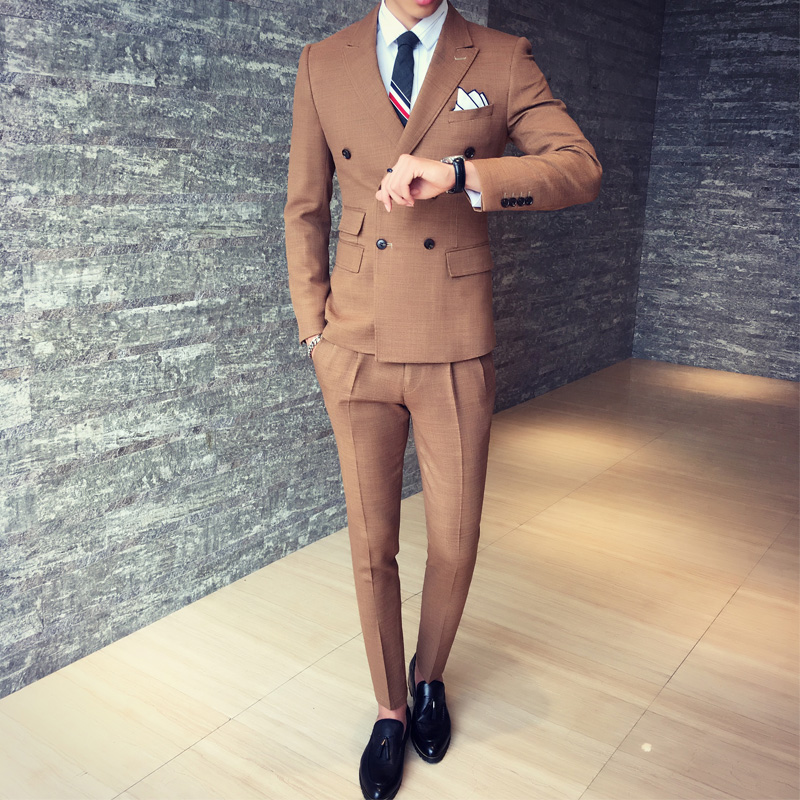 2017-New-Fashion-Mix-Match-Stylish-Double-Breasted-Male-Suit-Green-Brown-Black-Men-Dinner-Party (1)