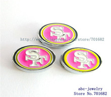 Internal Dia.8mm Football San Francisco 49ers slide Charms 100pcs can through 8mm Wristband pet collar free shipping(China)