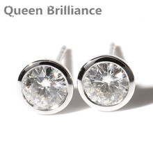 Queen Brilliance Real 14K 585 White Gold Push Back 1 Carat ctw F Color Test Positive Lab Grown Moissanite Diamond Earrings(China)