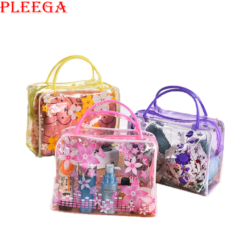 PLEEGA Brand Transparent Portable Women Cosmetic Bag  Waterproof Women Makeup Bag Underwear Make Up Drug Storage Organizer Bag<br><br>Aliexpress