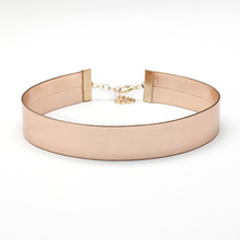 AENINE Female Fashion Accessories Rose Gold Color Imitation Leather Choker Collar Necklaces Jewelry Width 2cm Ne07