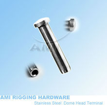 4mm wire*35mm,T09-04-01,Dome head terminal stainless steel 316, wire rope end fitting, cable railing, deck railing(China)