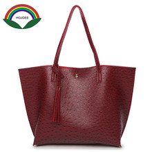 women's Handbags HOJOEE Luxury Women Bag Tote Tassel Bag Leather large crossbody bag Ostrich bolsa feminina Handle Messenger Bag