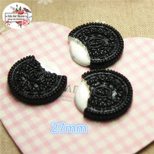 10PCS Oreo cookies Resin Flat back Cabochon imitation food Art Supply Decoration Charm Craft DIY free shipping
