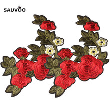 2pcs Fabric Embroidered Rose Flower Patches For Clothing Iron On fit Women Hairband Choker Jewelry Pendant DIY Making Findings