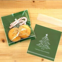 40Pcs/lot Plastic Green Christmas Tree Cookie Packaging Biscuit Gift Bag Bakery Food Candy Bag Jewelry Adhesive Bag 8CX976