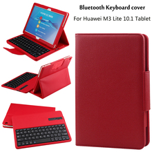 For Huawei MediaPad M3 Lite 10 BAH-W09 BAH-AL00 10.1 inch Tablet Detachable ABS Bluetooth Keyboard PU Leather Case Cover +Gift