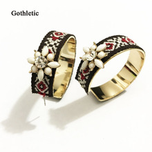 Gothletic Ethnic Fabric Inlaying New Bohemia Hoop Earrings Ribbon Wrapped Round Earrings for Women Brincos Novalty Punk Jewelry