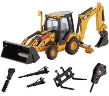 N*55143 1:50 CAT420E Center Pivot Backhoe Loader w/Work Tools toy