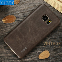 X-Level New PU Leather Phones Case For Samsung Galaxy S7 Ultra Thin Protective Back Cover For Samsung S7 Edge Vintage Fashion(China)