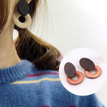 E0469 Korean Style Round Circle Earrings For Women Girl Popular Donuts Chocolate Shaped Stud Earrings Statement Ear Jewelry Gift(China)