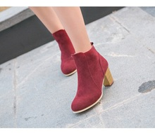 Hot Autumn Winter Women Boots Solid European Ladies shoes Martin boots Suede Leather ankle boots with thick scrub size 35-39