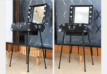 Aluminum makeup studio with lights, Lighting cosmetic/makekup trolley train case with stand
