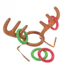 2016 Christmas Toy Children Kids Inflatable Santa Funny Reindeer Antler Hat Ring Toss Christmas Holiday Party Game Supplies Toy