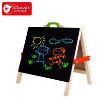 free shipping 53*6*47cm Classic world portable double sided children's drawing board tabletop easel Blackboard best gift for kid(China)