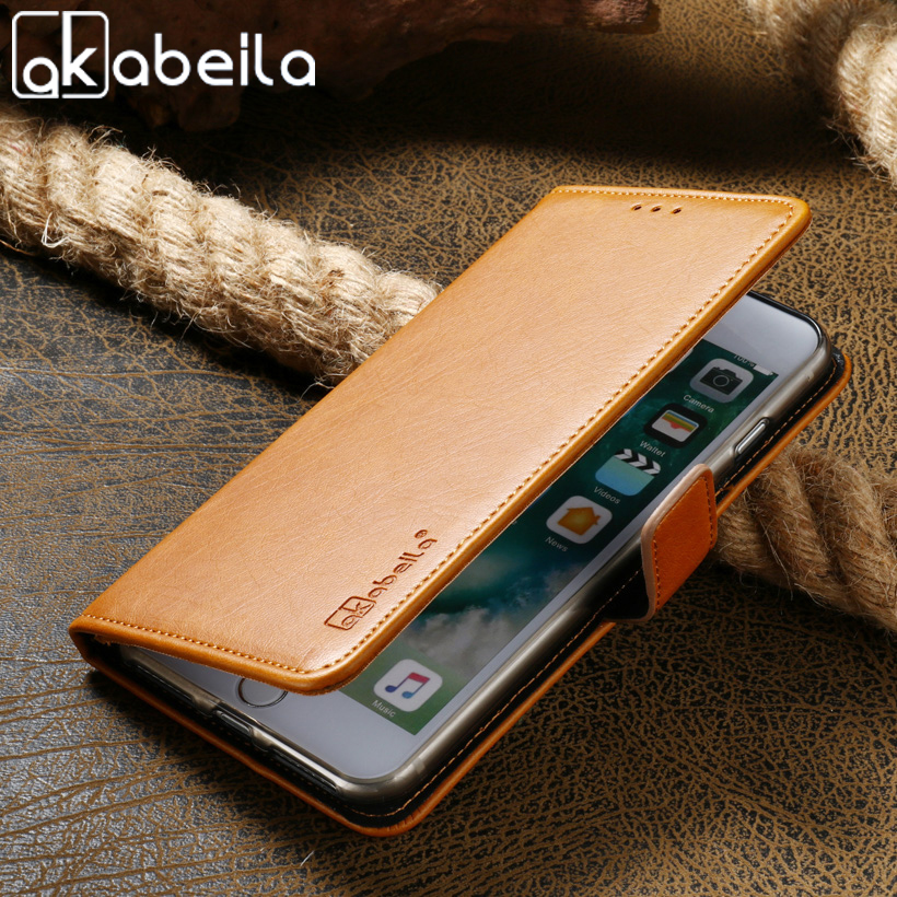 AKABEILA PU Leather Phone Cases Doogee Homtom HT16 5.0 inch Covers Phone Back Retro Flip fundas Bags Flip Card Holder Back