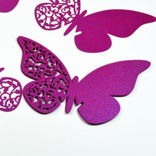 New 24 Pcs/Lot Pearl Paper Butterfly Laser Cut Cup Card/Escort Card/Wine Glass Card Place Card Flower Wedding Table Decoration