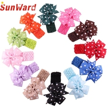 Stylish 12 colors   Headbands Girl's Flower Hair Bow Wave Head Wear Hair Accessory hair band  for 1 to 3 Years Kids