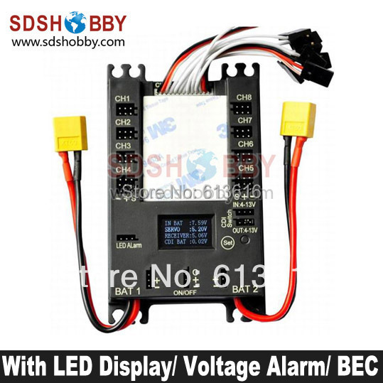 NEW Mini Servo Distribution Board/ Section Board (4106#) with LED Screen/ Voltage Alarm/ BEC-Black Color<br><br>Aliexpress