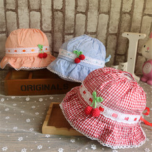 Toddler Infant Visor Cotton Sun Cap Plaid Print Summer Outdoor Baby Girl Pink White Beach Cherry Bucket Hats
