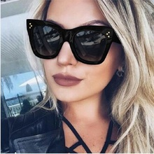 Newest 2017 Fashion Square Sunglasses Women Cat Eye Luxury Brand Big Black Sun Glasses Mirror Shades lunette femme Oculos(China)