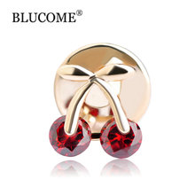 Fruit Red Zircon Cherry Small Brooch Bouquet Crystal Corsage Collar Pin Broches Wedding Hijab Pin Up Clip Scarf