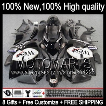 Bodys For SUZUKI Hayabusa Black west GSXR1300 08 09 10 11 12 13 14 15 19HM15 GSX R1300 GSXR 1300 2008 2009 2010 2011 Fairing(China)