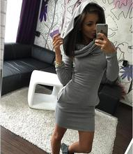Winter style, long sleeve hat collar, tight dress. Fashion sexy, casual wear, warm knit cotton, hot sales(China)