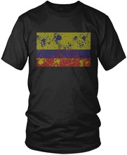Colombia Flag, Faded Abstract Colombian Flag Cotton t shirt slogans Customized shirts for mens
