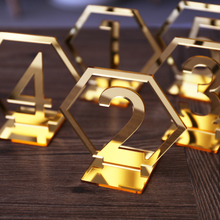 Acrylic Gold Geometric table numbers,wedding Hexagon Table Numbers , Boho Centerpiece Table Decor, mirror gold table decor