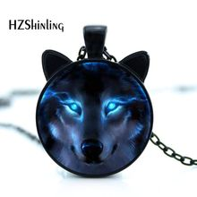 CN-00758 2017 New Nordic Wiccan Wolf Necklace Wiccan Wolf Pendant Jewelry Glass Photo Cabochon Necklace HZ2(China)