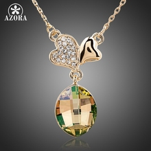 AZORA Two Leaf Clover Ultra Big Pear Gold Color Stellux Austrian Crystal Pendant Necklace TN0111