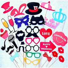 Photo Booth Props Party Wedding Decorations 34PCS CatGlass Supplies Mask Mustache for Fun Favor photobooth brithday party favors