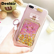 Brand New Luxury Glitter Liquid Quicksand Perfume Bottle Bling Clear Soft Gel Phone Case For iPhone 7 7Plus 6 6s Plus 6Plus Capa(China)