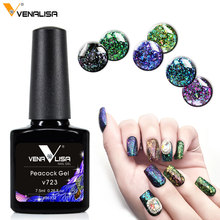 New VENALISA soak off long lasting black base Peacock gelpolish starry bling glitter nail Chameleon Sequins gel nail polish(China)