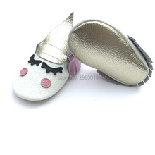 High Quality Fancy unique 100% genuine leather newborn baby boy and girls party moccasins Blush golden angle Unicorn Baby shoes(China)