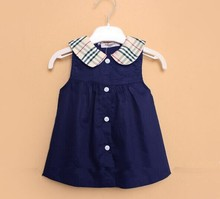 Classic baby dress, sleeveless cotton cute baby girl dress, navy blue or white colors, baby outfits HB1268