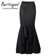 Burvogue Stylish Mermaid Skirt Steampunk High Waist Skirts Fashion Vestidos Perspective Long Maxi Skirts Black Sexy Skirt(China)