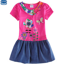 novatx H6063D baby girls summer short sleeve dress stylish design with floral embroidery girls dress baby girls wear hot top
