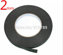 0.5mm thickness 2mm width *10M /Roll Double Sided Sticky Black Foam Sponge Tape for Phone Samsung HTC Screen Dust Proof Sealing(China)