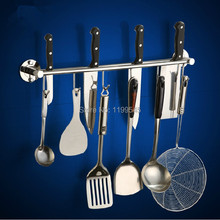 Free shipping 304 stainless steel wall shelf hooks multifunctional tool holders kitchen knives holder rack--storage holder