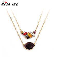 KISS ME Office Ladies Favorite Elegant Clavicle Necklace KISS ME Latest Colorful Rhinestone Choker Dress Accessories(China)