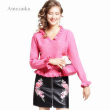 Buy women PU leather floral embroidery skirts zipper design faldas European style fashion streetwear black mini skirts for $18.81 in AliExpress store