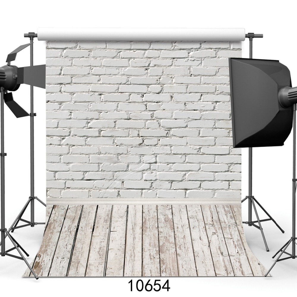 Photography Backdrops Brick Shower Wall Wooden Photo-Studio White Baby Newborn Children title=