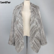 (Lord Fur) Lady Real Knitted Rabbit Fur Jacket Coat Turn-Down Collar Autumn Winter Genuine Women Fur Slim Outerwear Coats LF4009