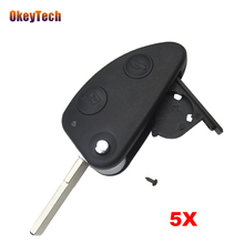 OkeyTech 5pcs/lot 2 Buttons Uncut SIP22 Blade Remote Car Key Case Shell Combo Flip Fob Car Key Shell for Alfa Romote 147 156 GT(China)