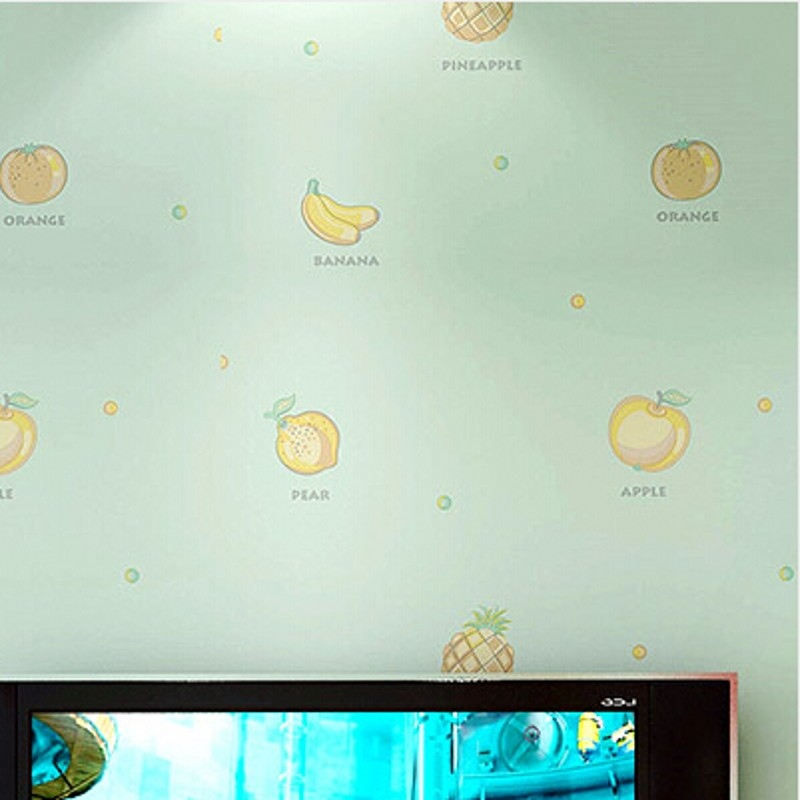 beibehan girls childrens room bedroom wallpaper warm childlike cartoon fruit English non-woven wallpaper wall papers home decor<br>