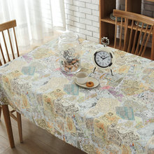 New Europe Vintage Linen Map Patchwork Pattern Table Cloth High Quality Tablecloth Table Cover manteles para mesa Free Shipping(China)
