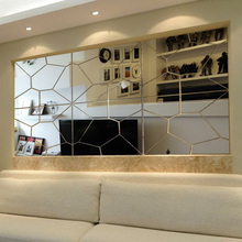 Hot-selling tv mirror wall stickers 3d abstract mirror geometric patterns graphic three-dimensional wall stickers mirror
