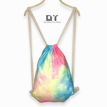 shoulder bag pumping rope package gradual change dream Nebula candy color printing beam mouth movement single Backpack